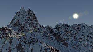 3d snowy mountain snow model