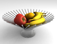 3d chrome fruit bowl