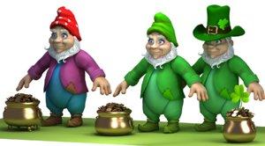 3d cartoon gnome gold pot