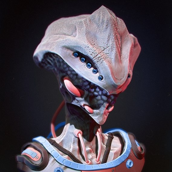 3d alien sculpted zbrush model