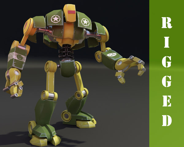 free robot rigged 3d model