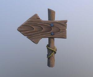 cartoon wooden sign obj