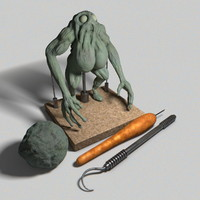 3d model monster tool clay