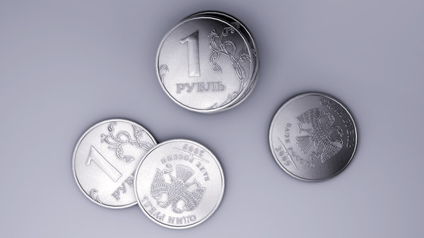 3d model of russian coin ruble