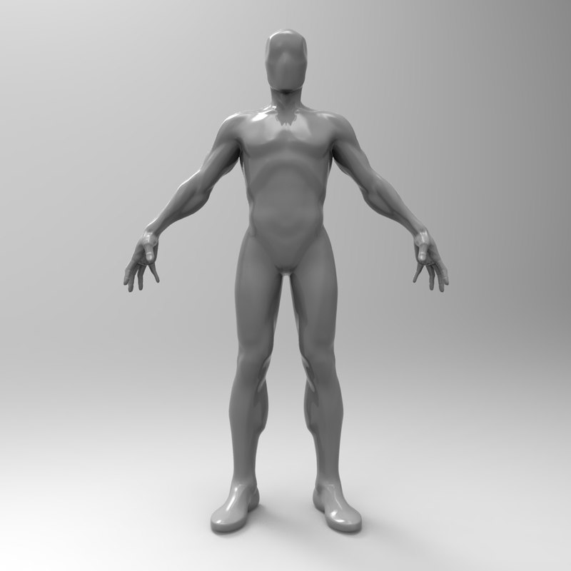 3d model simple base mesh male
