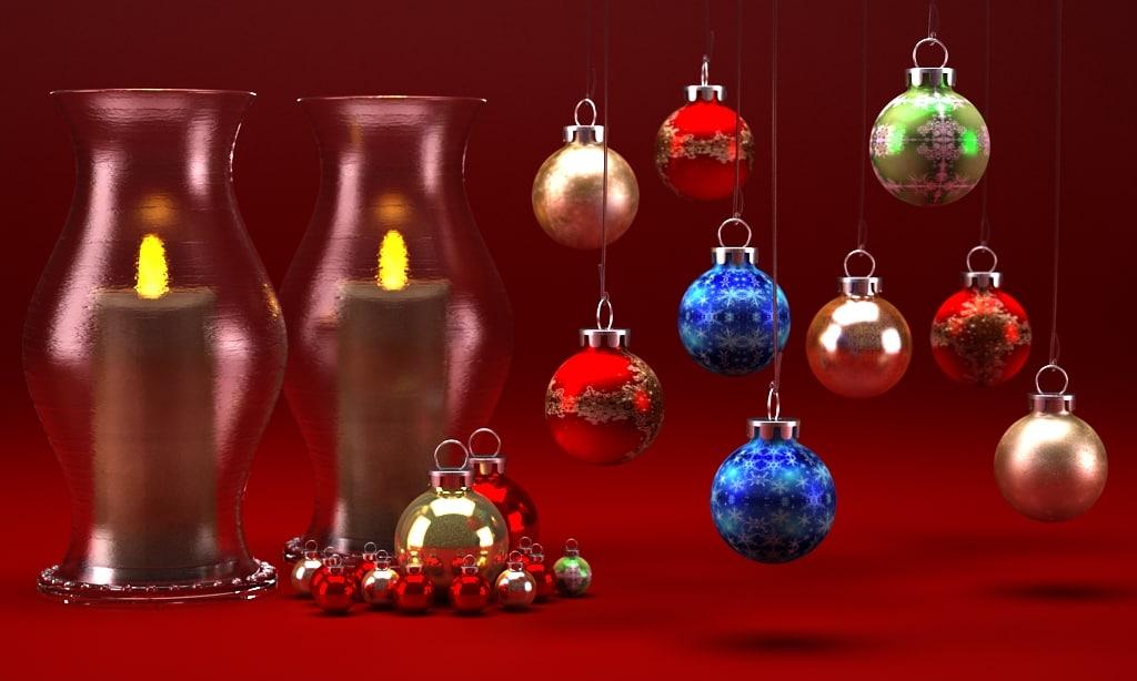 3d model candelite vase christmas set