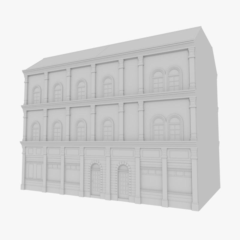 european building 3d 3ds