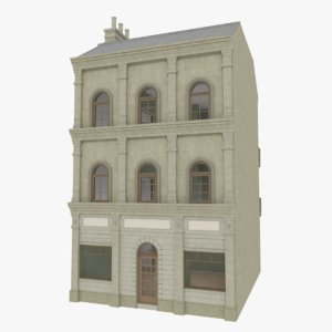 3d european building interior store model