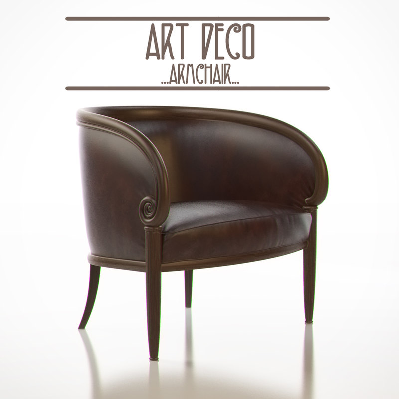 3d art deco armchair