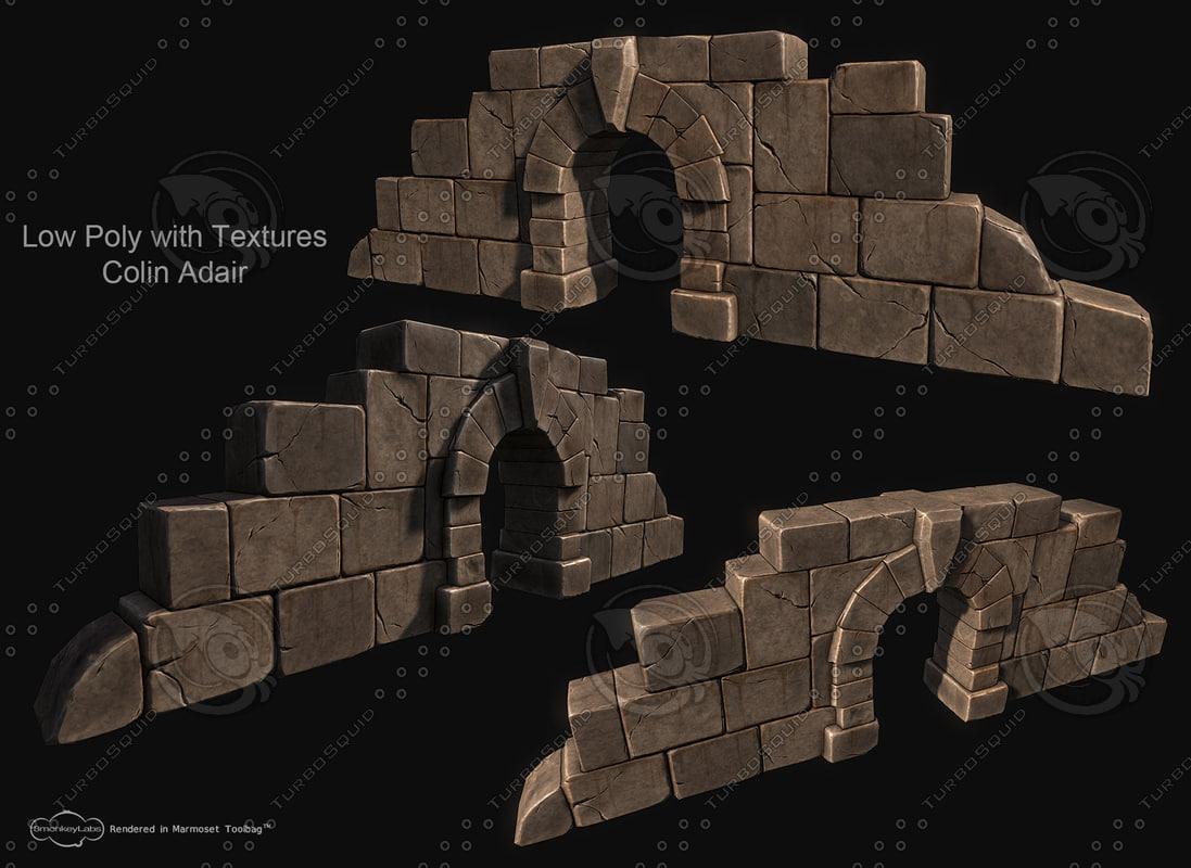 3d stone entrance sculpt model