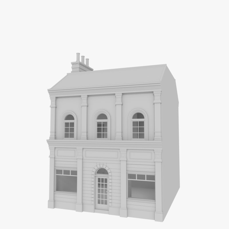 3d model european building interior store