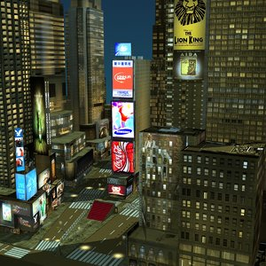 night new york city 3d model
