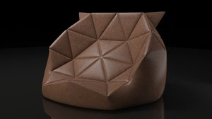 3d leather bean bag