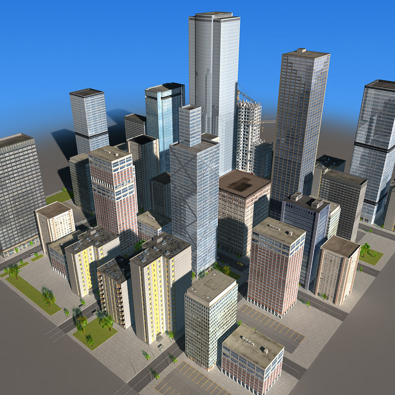 3d city building blocks 03 model