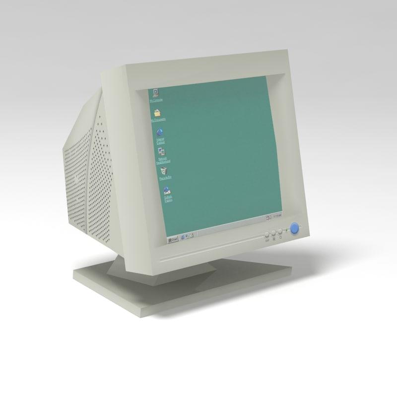 3d model of crt monitor