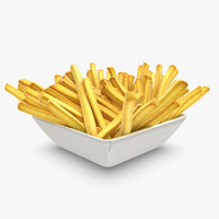 realistic french fries plate 3d model