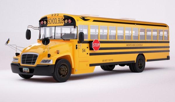 american school bus 3d max