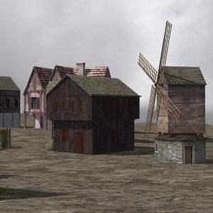 village buildings set 3d obj
