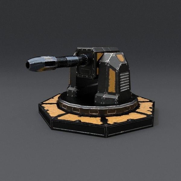 3d model of scifi turret