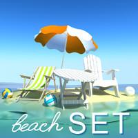 3d model beach set
