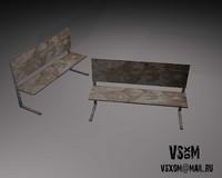 3d model school bench