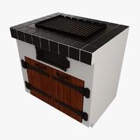 3d model barbecue interior