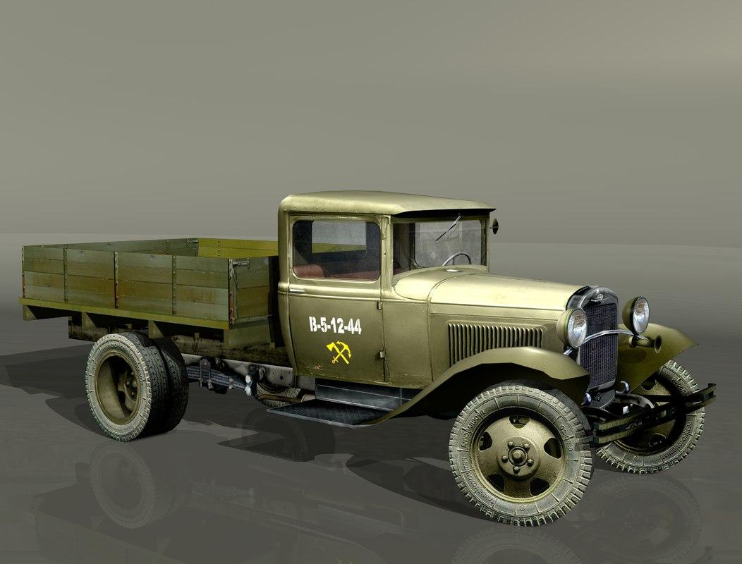 gaz-aa lorry gorky 3d 3ds