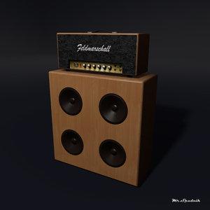 3d model amplifier guitar head