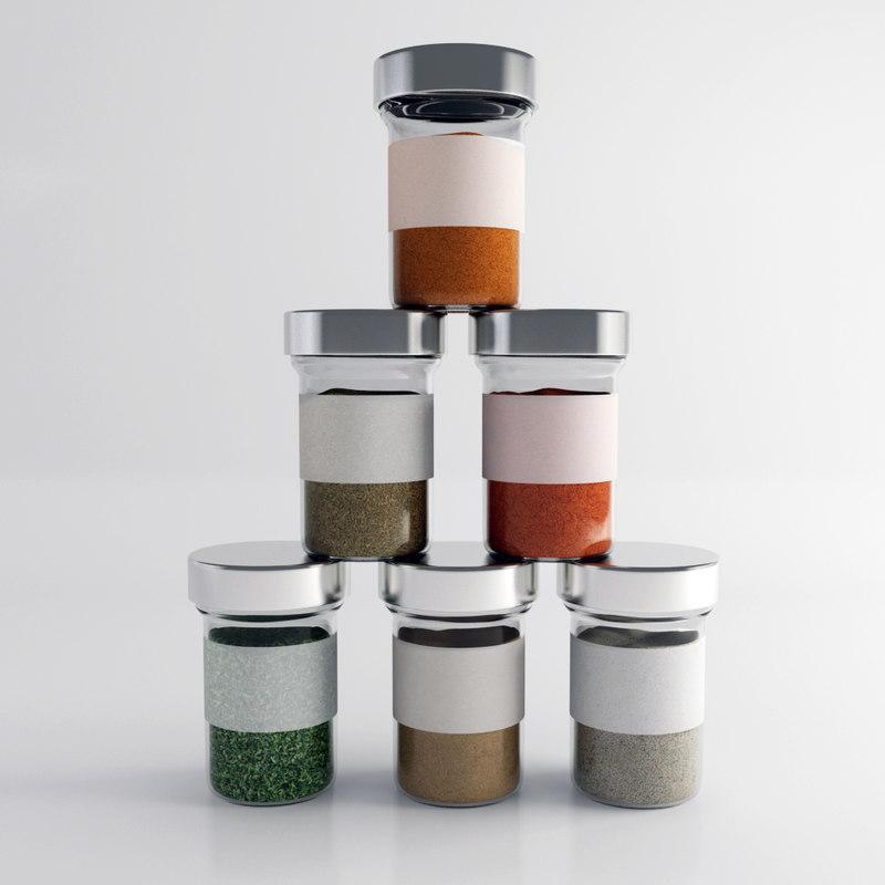 3d spice jar set model