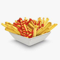 French Fries Plate With Ketchup