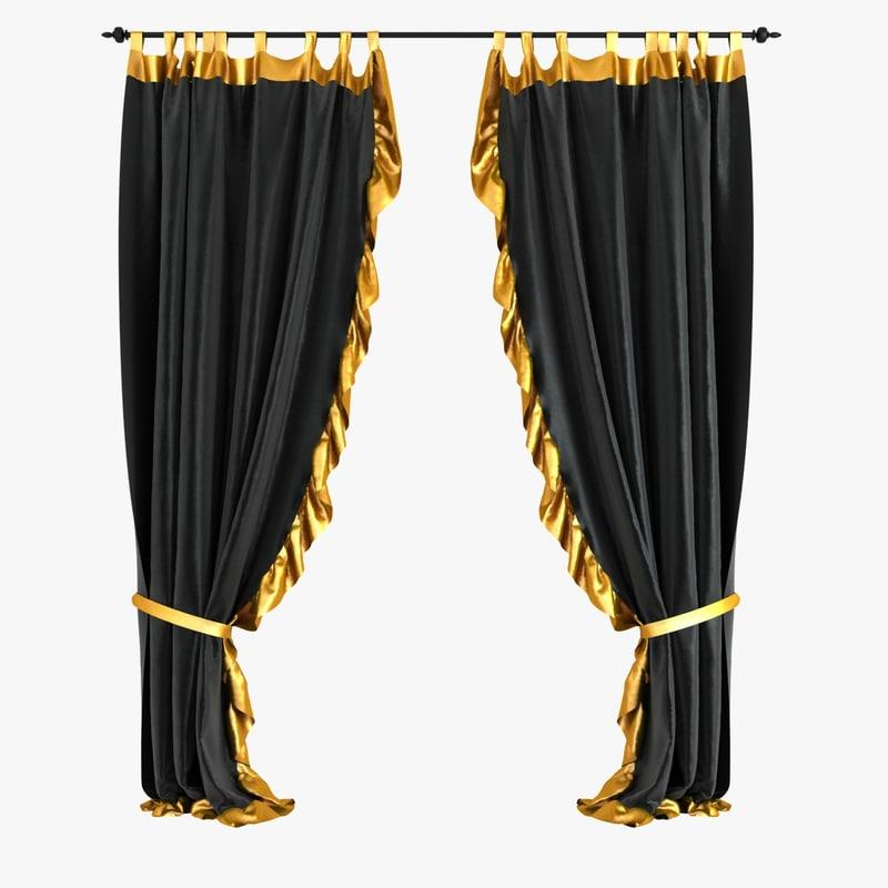 curtains velvet black 3d obj