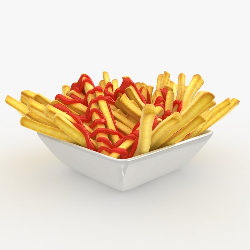 realistic french fries plate 3ds