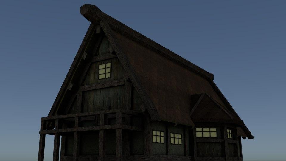 3d obj house middle ages