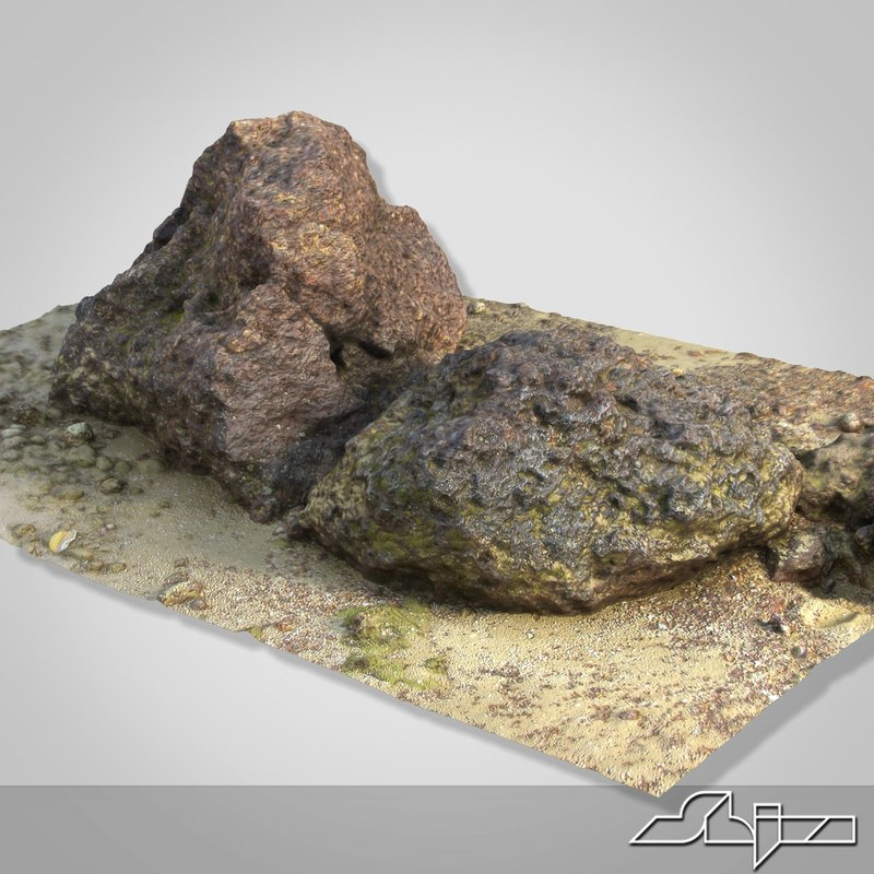 3d goa beach stones scan model