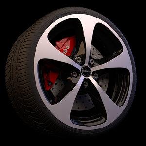 wheel brakes tyre 3d model