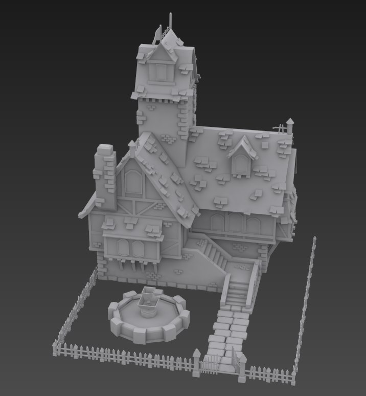 3d old crooked house
