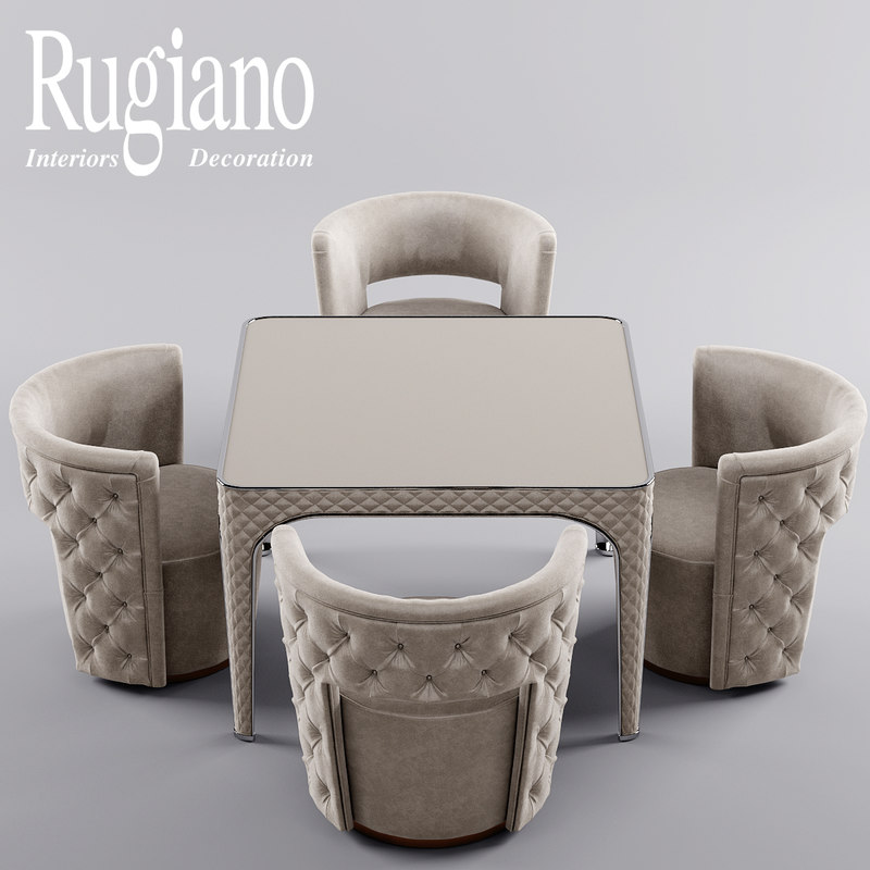 3d model of table chair rugiano