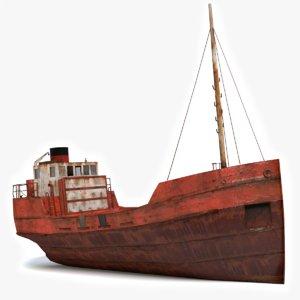3d old rusty cargo ship