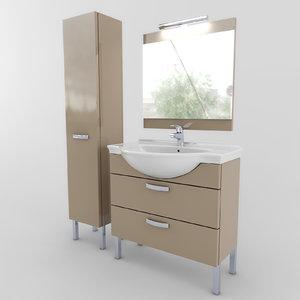 bathroom furniture set 01 3d model
