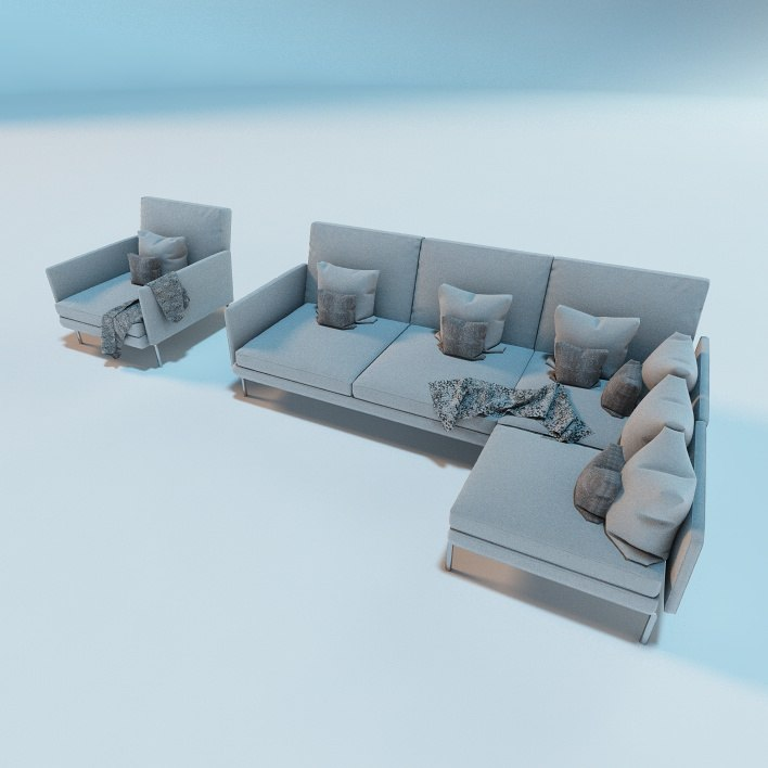 c4d modern living room sofa chair