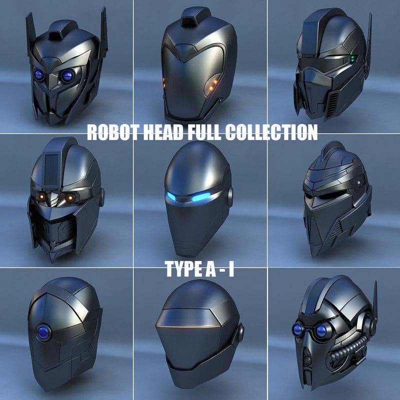3d robot head type - model