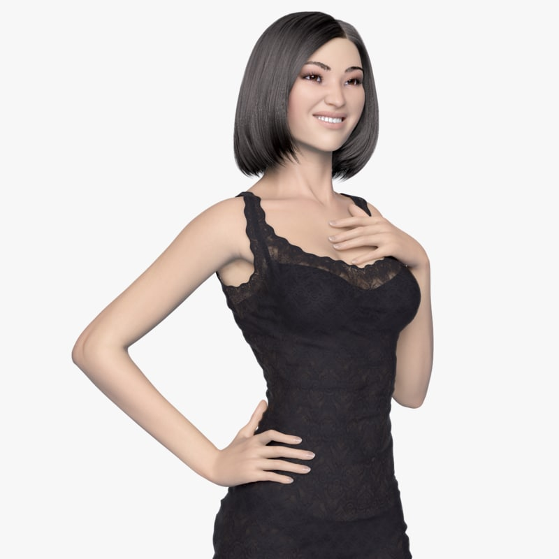 rigged female asian evening 3d model