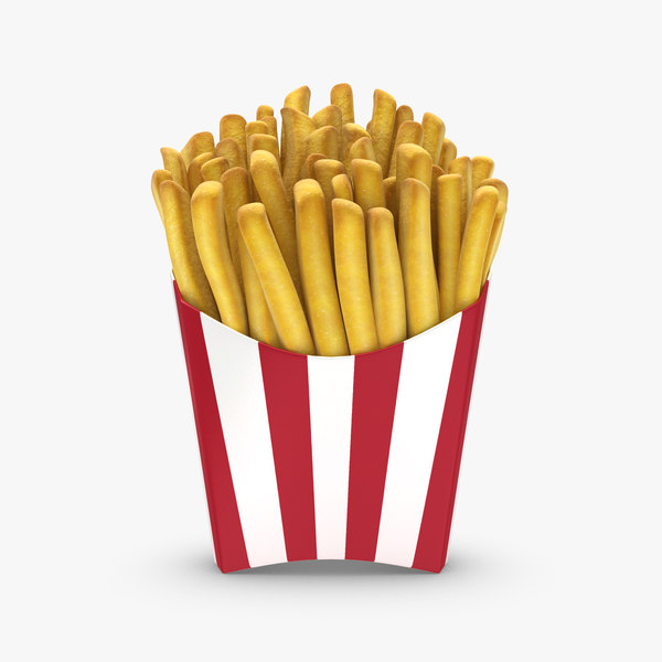 realistic french fries 3d model