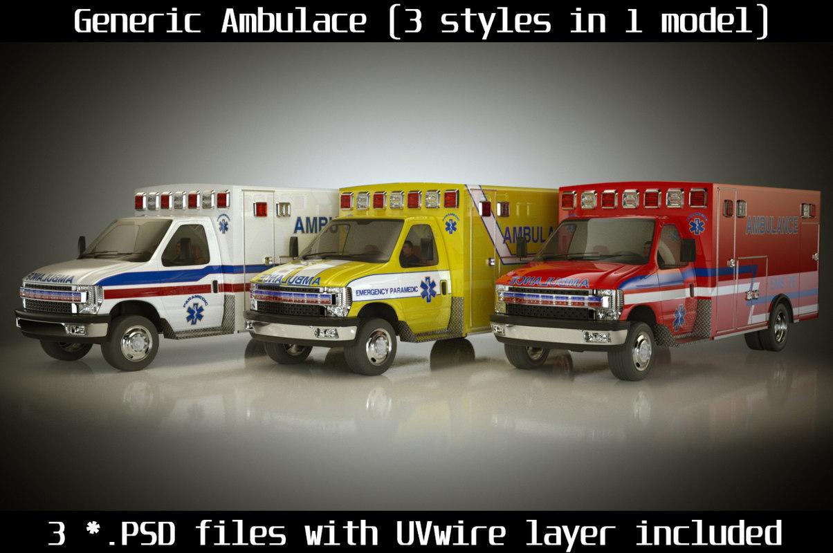 3d model emergency ambulance truck