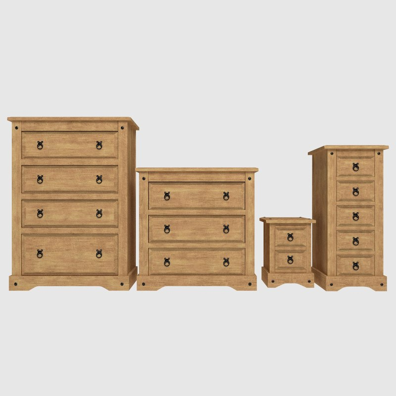 free set corona drawer 3d model