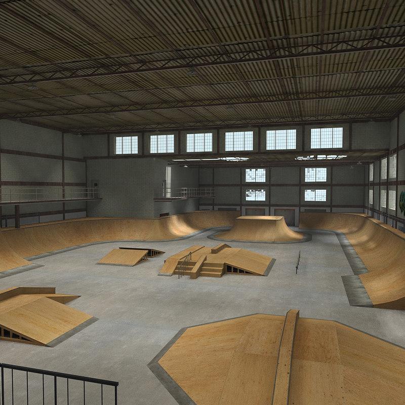 skate park warehouse interior 3d max