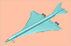 3d model of japan supersonic transport solid