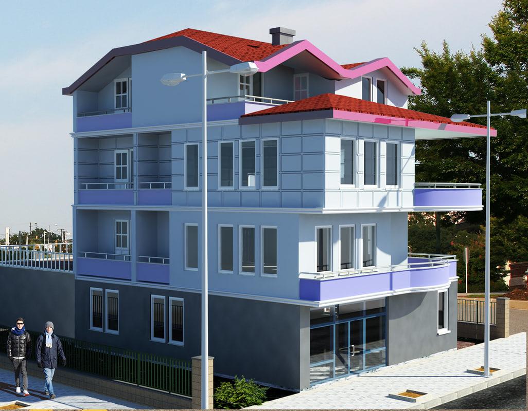 3d model duplex villas