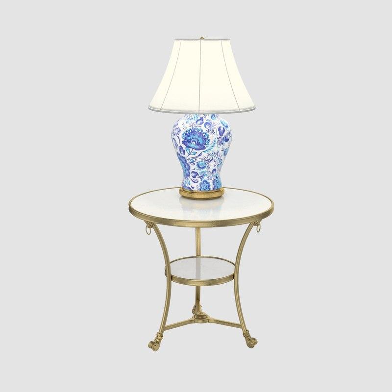 3dsmax set table lamp gzhel