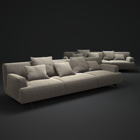 3d model of tribeca 3 seater sofa